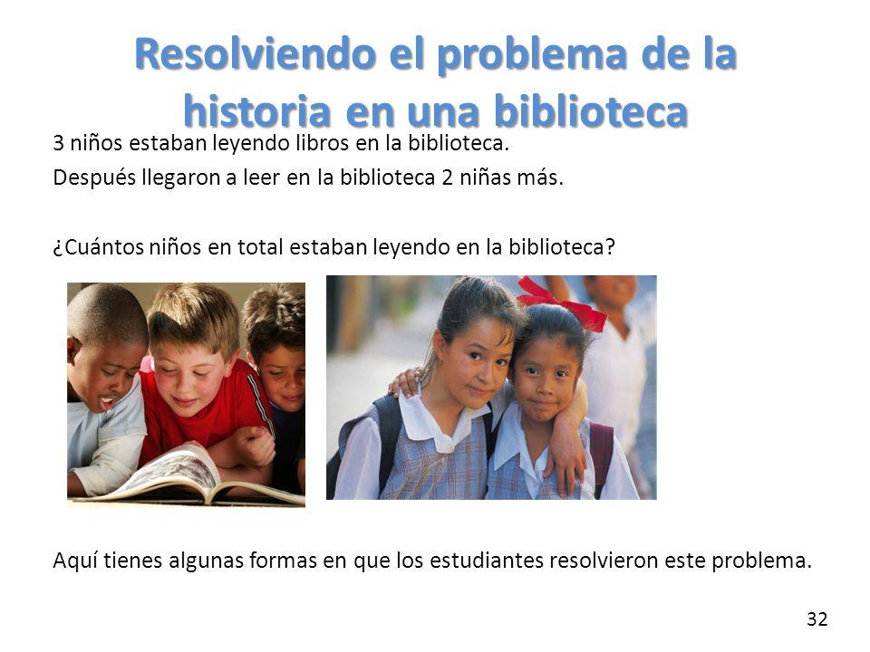 Resolviendo el problema de la historia en una biblioteca 3 niños estaban leyendo libros en la biblioteca. Después llegaron a leer en la biblioteca 2 n