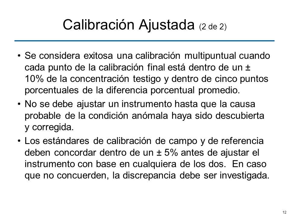 12 Calibración Ajustada (2 de 2) Se considera exitosa una calibración multipuntual cuando cada punto de la calibración final está dentro de un ± 10% d