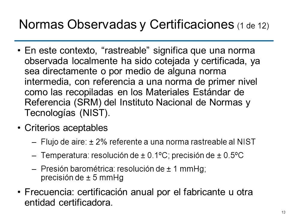 13 Normas Observadas y Certificaciones (1 de 12) En este contexto, rastreable significa que una norma observada localmente ha sido cotejada y certific