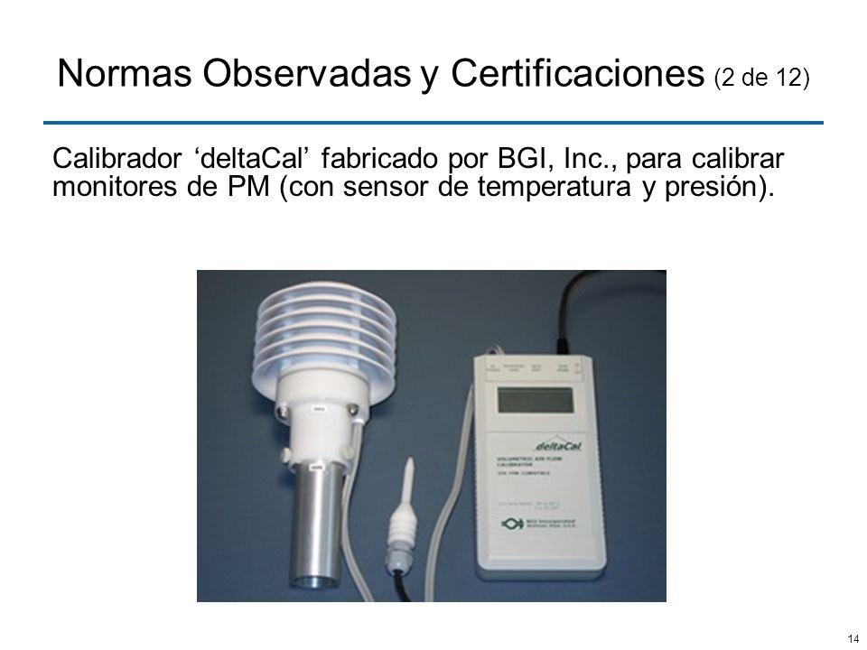 14 Normas Observadas y Certificaciones (2 de 12) Calibrador deltaCal fabricado por BGI, Inc., para calibrar monitores de PM (con sensor de temperatura