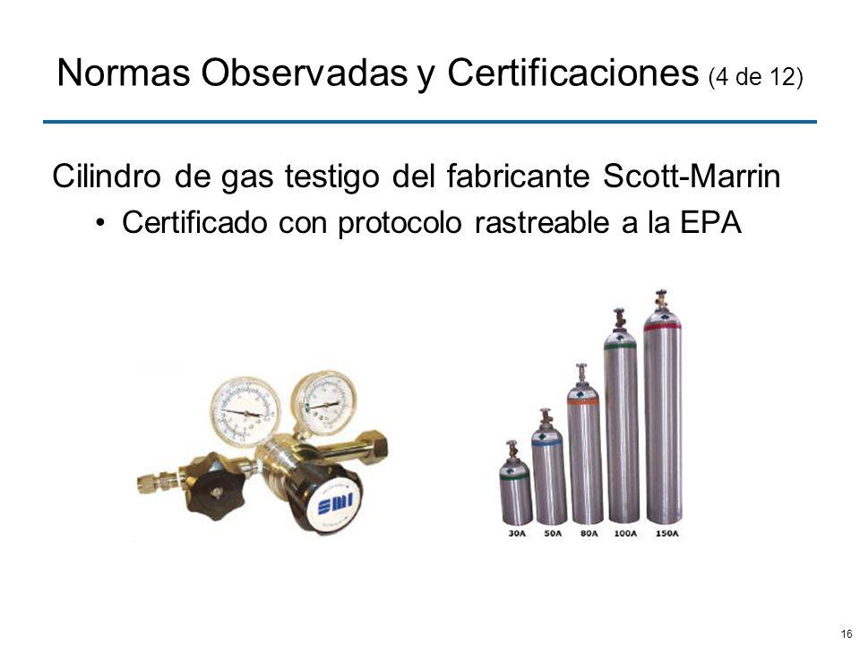 16 Normas Observadas y Certificaciones (4 de 12) Cilindro de gas testigo del fabricante Scott-Marrin Certificado con protocolo rastreable a la EPA