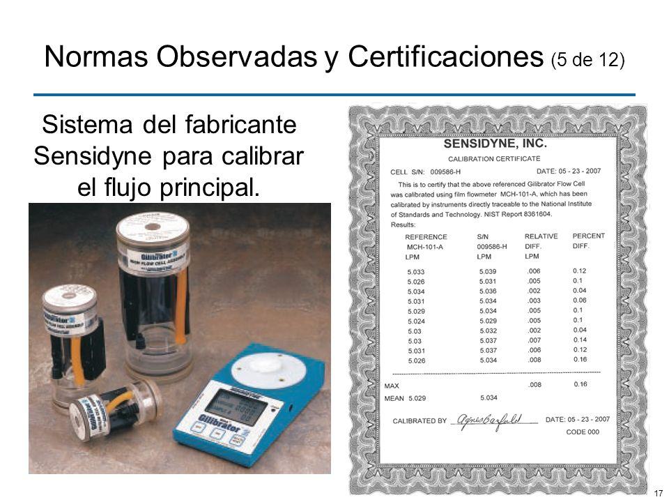 17 Normas Observadas y Certificaciones (5 de 12) Sistema del fabricante Sensidyne para calibrar el flujo principal.
