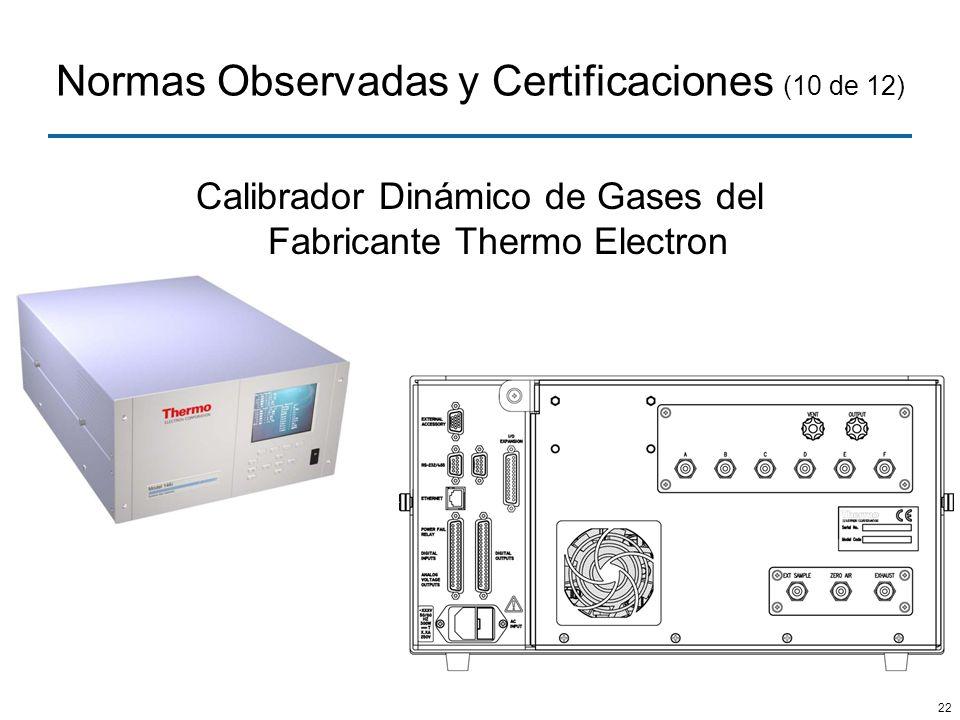 22 Normas Observadas y Certificaciones (10 de 12) Calibrador Dinámico de Gases del Fabricante Thermo Electron