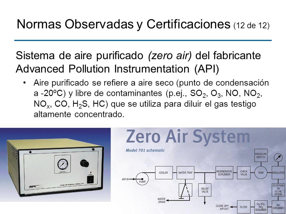 24 Normas Observadas y Certificaciones (12 de 12) Sistema de aire purificado (zero air) del fabricante Advanced Pollution Instrumentation (API) Aire p