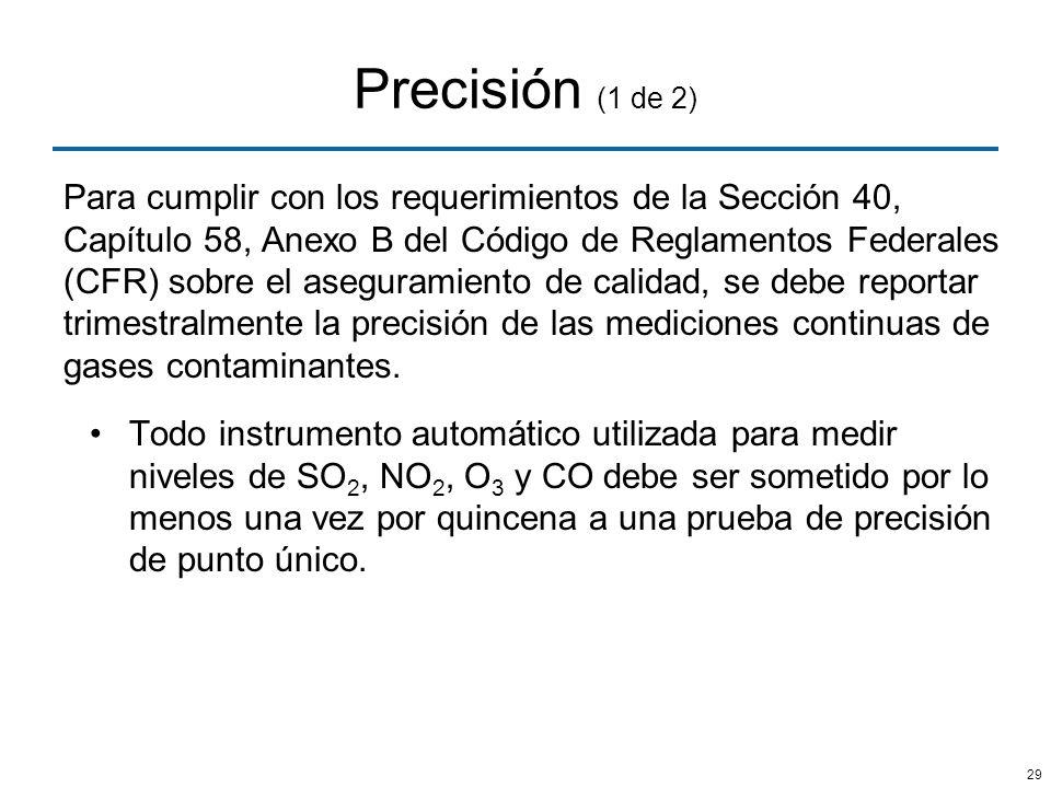 29 Precisión (1 de 2) Para cumplir con los requerimientos de la Sección 40, Capítulo 58, Anexo B del Código de Reglamentos Federales (CFR) sobre el as