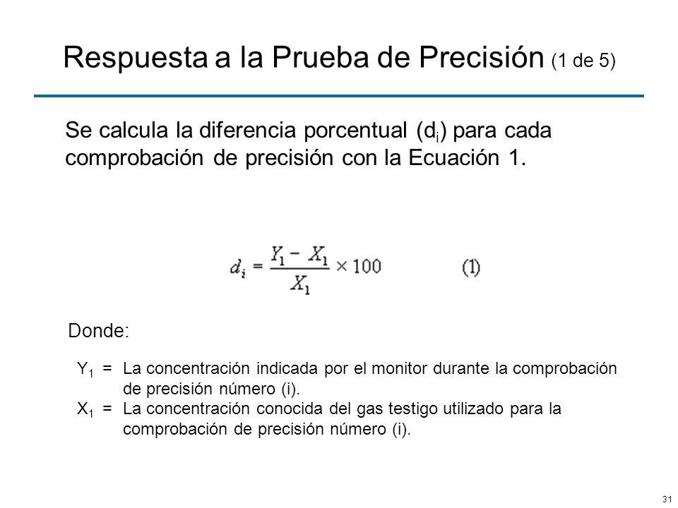 31 Respuesta a la Prueba de Precisión (1 de 5) Se calcula la diferencia porcentual (d i ) para cada comprobación de precisión con la Ecuación 1. Donde