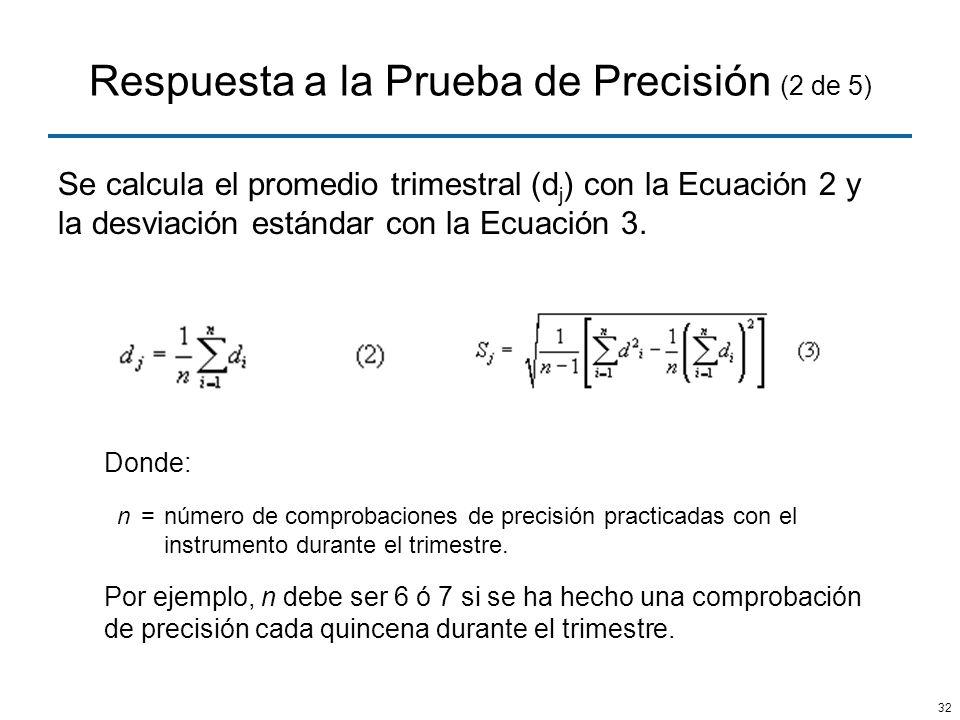 32 Respuesta a la Prueba de Precisión (2 de 5) Se calcula el promedio trimestral (d j ) con la Ecuación 2 y la desviación estándar con la Ecuación 3.