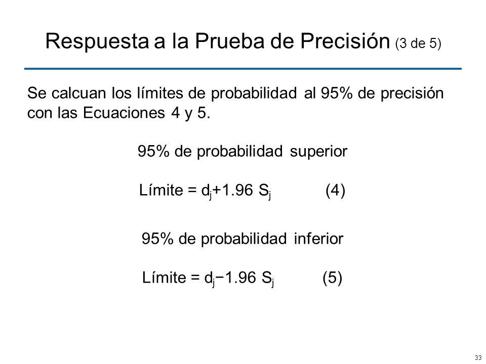33 Respuesta a la Prueba de Precisión (3 de 5) Se calcuan los límites de probabilidad al 95% de precisión con las Ecuaciones 4 y 5. 95% de probabilida
