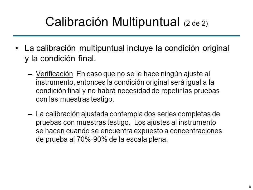 8 Calibración Multipuntual (2 de 2) La calibración multipuntual incluye la condición original y la condición final. –Verificación En caso que no se le