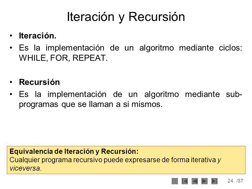 24/37 Iteración y Recursión Iteración. Es la implementación de un algoritmo mediante ciclos: WHILE, FOR, REPEAT. Recursión Es la implementación de un