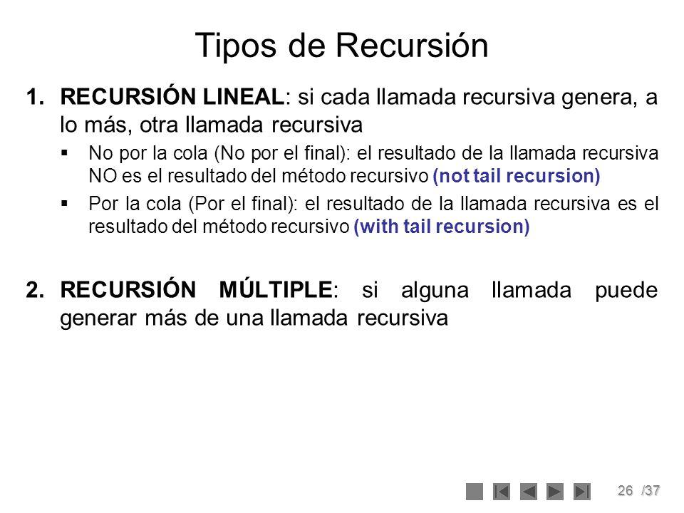 26/37 Tipos de Recursión 1.RECURSIÓN LINEAL: si cada llamada recursiva genera, a lo más, otra llamada recursiva No por la cola (No por el final): el r