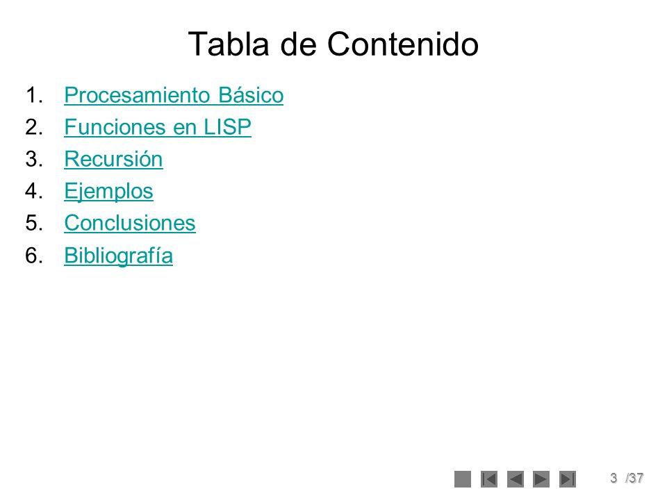 3/37 Tabla de Contenido 1.Procesamiento BásicoProcesamiento Básico 2.Funciones en LISPFunciones en LISP 3.RecursiónRecursión 4.EjemplosEjemplos 5.Conc