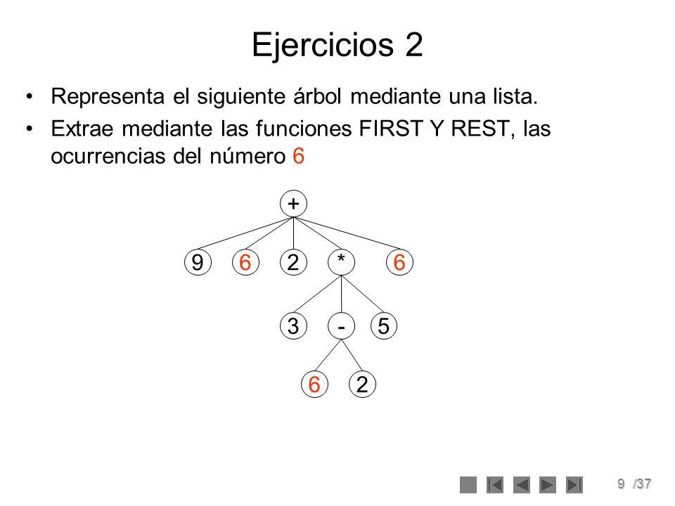 9/37 Ejercicios 2 Representa el siguiente árbol mediante una lista. Extrae mediante las funciones FIRST Y REST, las ocurrencias del número 6 + 962* -3