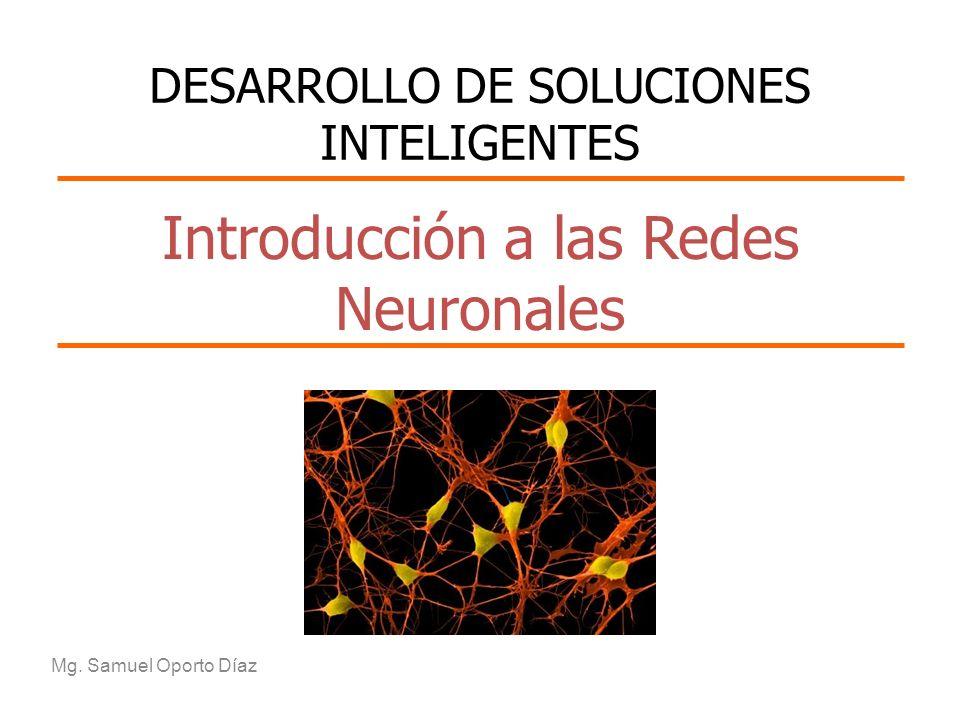 Introducción a las Redes Neuronales Mg. Samuel Oporto Díaz DESARROLLO DE SOLUCIONES INTELIGENTES
