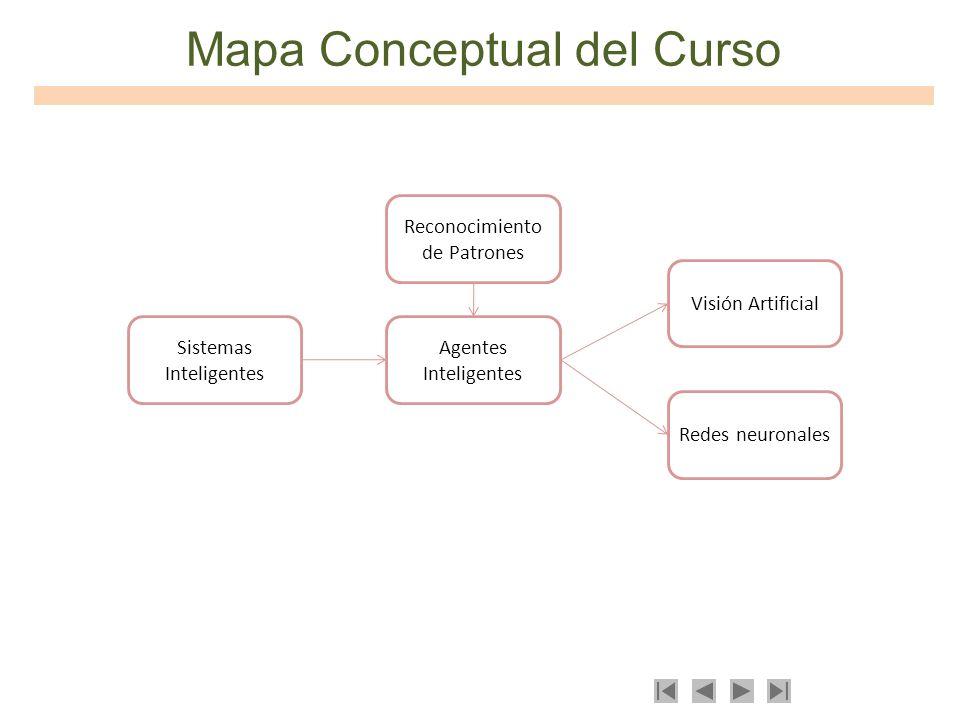 Mapa Conceptual del Curso Sistemas Inteligentes Reconocimiento de Patrones Agentes Inteligentes Visión Artificial Redes neuronales