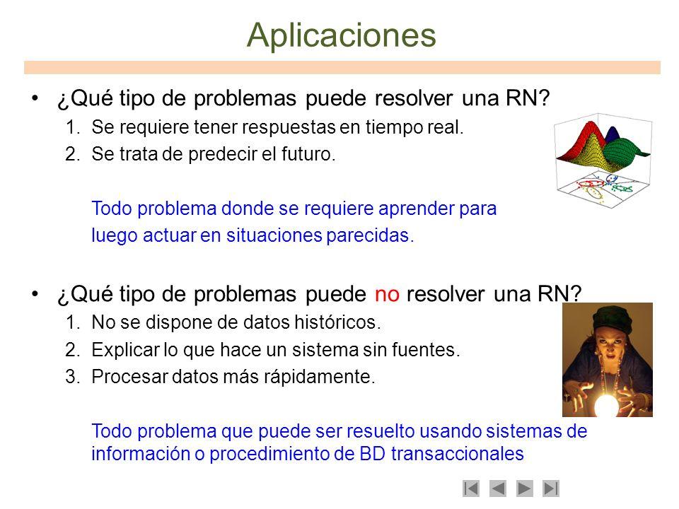 Aplicaciones ¿Qué tipo de problemas puede resolver una RN? 1.Se requiere tener respuestas en tiempo real. 2.Se trata de predecir el futuro. Todo probl