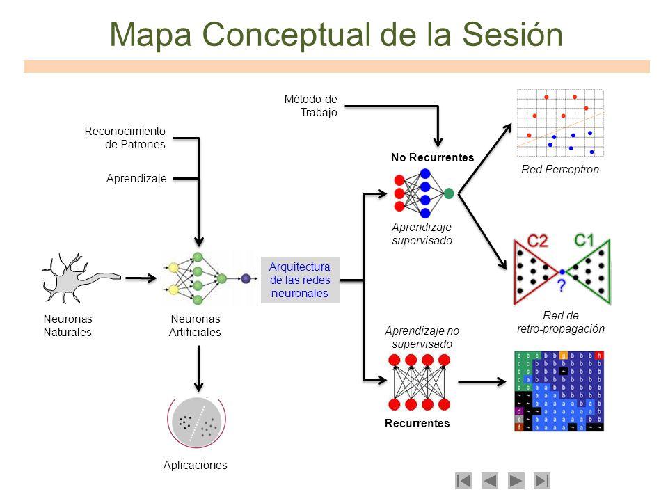 Mapa Conceptual de la Sesión Neuronas Naturales Neuronas Artificiales Aprendizaje Reconocimiento de Patrones Arquitectura de las redes neuronales Apli