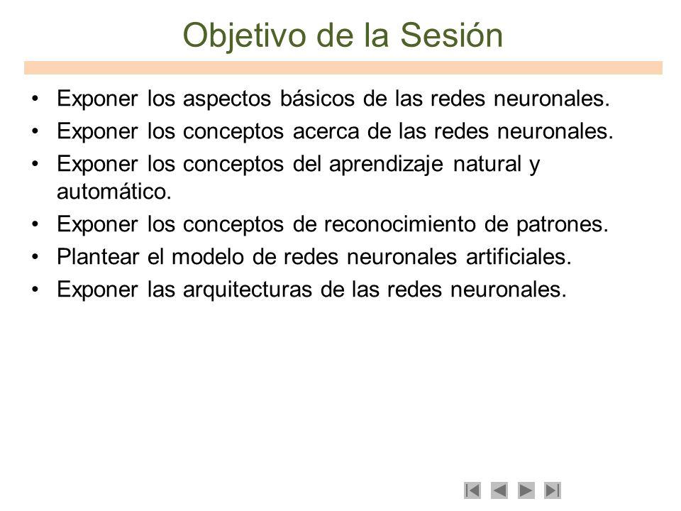 Objetivo de la Sesión Exponer los aspectos básicos de las redes neuronales. Exponer los conceptos acerca de las redes neuronales. Exponer los concepto