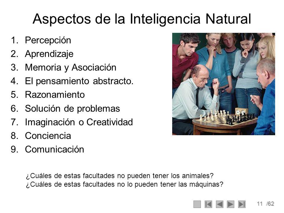 11/62 Aspectos de la Inteligencia Natural 1.Percepción 2.Aprendizaje 3.Memoria y Asociación 4.El pensamiento abstracto. 5.Razonamiento 6.Solución de p