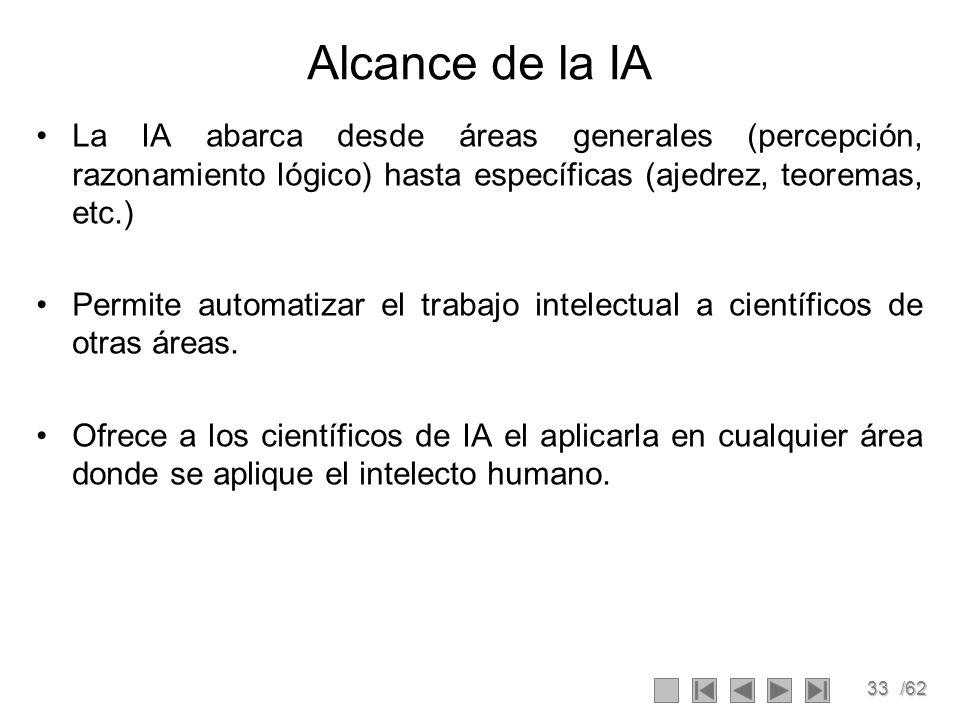 33/62 Alcance de la IA La IA abarca desde áreas generales (percepción, razonamiento lógico) hasta específicas (ajedrez, teoremas, etc.) Permite automa