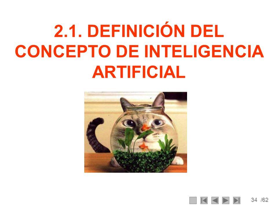 34/62 2.1. DEFINICIÓN DEL CONCEPTO DE INTELIGENCIA ARTIFICIAL