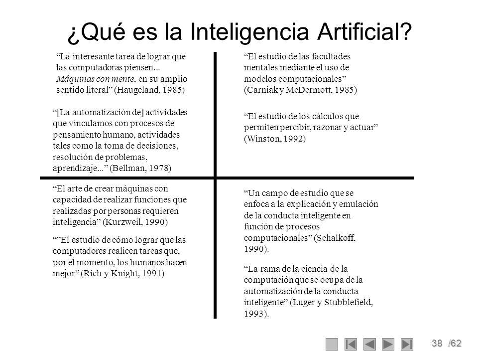 38/62 ¿Qué es la Inteligencia Artificial? La interesante tarea de lograr que las computadoras piensen... Máquinas con mente, en su amplio sentido lite