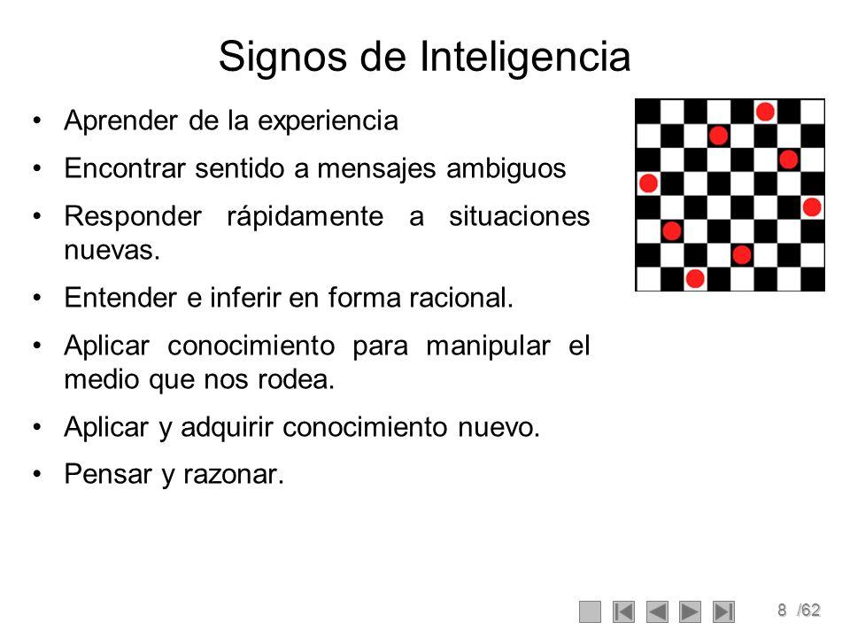 8/62 Signos de Inteligencia Aprender de la experiencia Encontrar sentido a mensajes ambiguos Responder rápidamente a situaciones nuevas. Entender e in