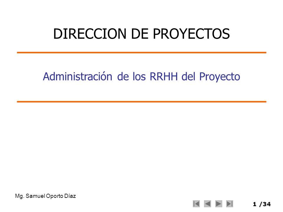 12/34 Planeamiento de RRHH Organigrama del proyecto –Representación gráfica de las relaciones jerárquicas en el proyecto Funciones y responsabilidades: –Función.