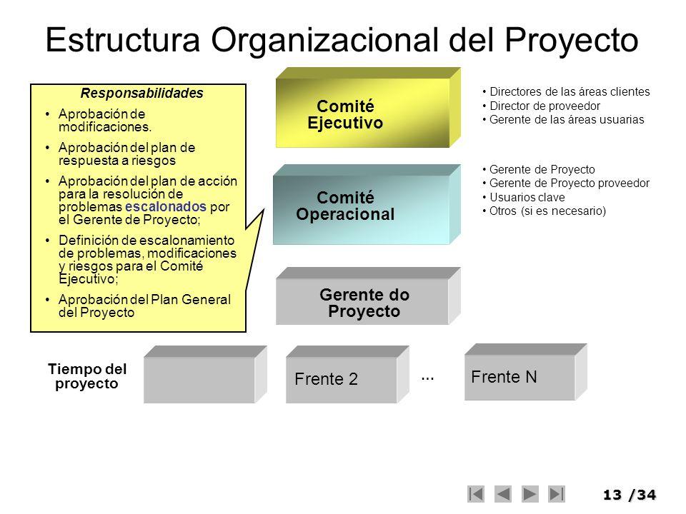 13/34 Estructura Organizacional del Proyecto Comité Operacional Comité Ejecutivo … Frente 2 Frente N Gerente do Proyecto Tiempo del proyecto Directore