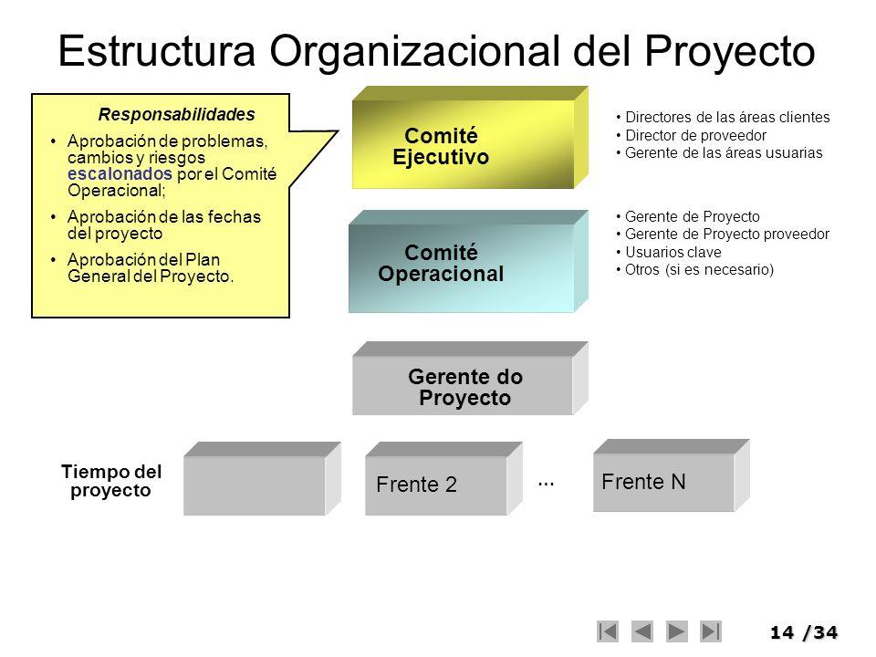 14/34 Estructura Organizacional del Proyecto Comité Operacional Comité Ejecutivo … Frente 2 Frente N Gerente do Proyecto Tiempo del proyecto Directore