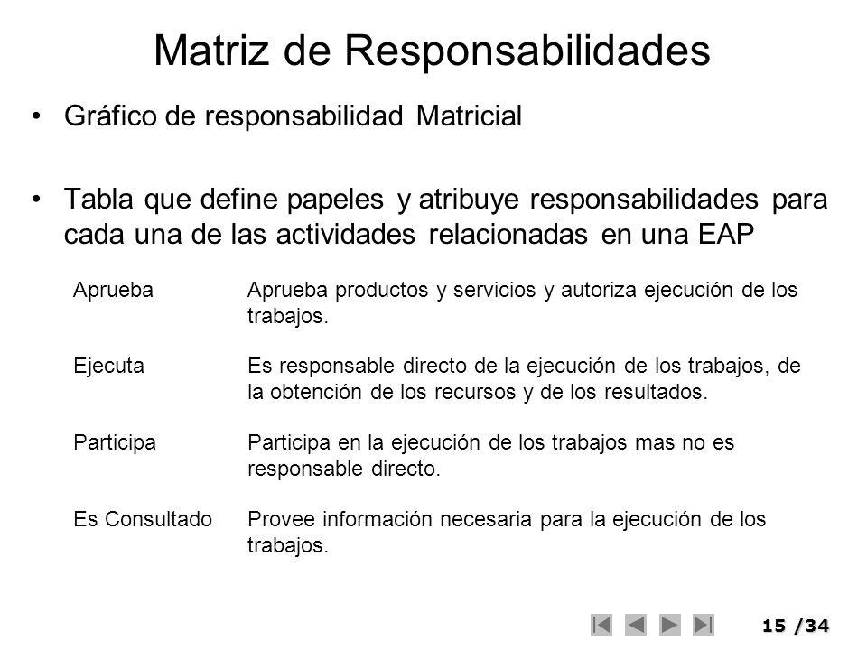 15/34 Matriz de Responsabilidades Gráfico de responsabilidad Matricial Tabla que define papeles y atribuye responsabilidades para cada una de las acti