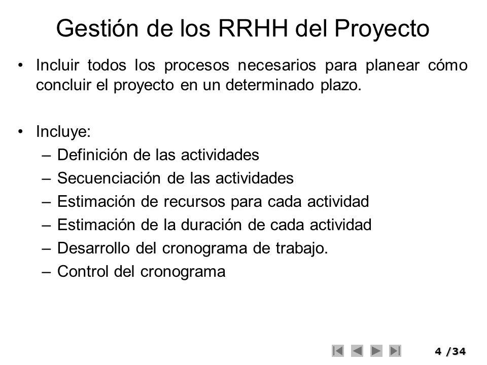 4/34 Gestión de los RRHH del Proyecto Incluir todos los procesos necesarios para planear cómo concluir el proyecto en un determinado plazo. Incluye: –