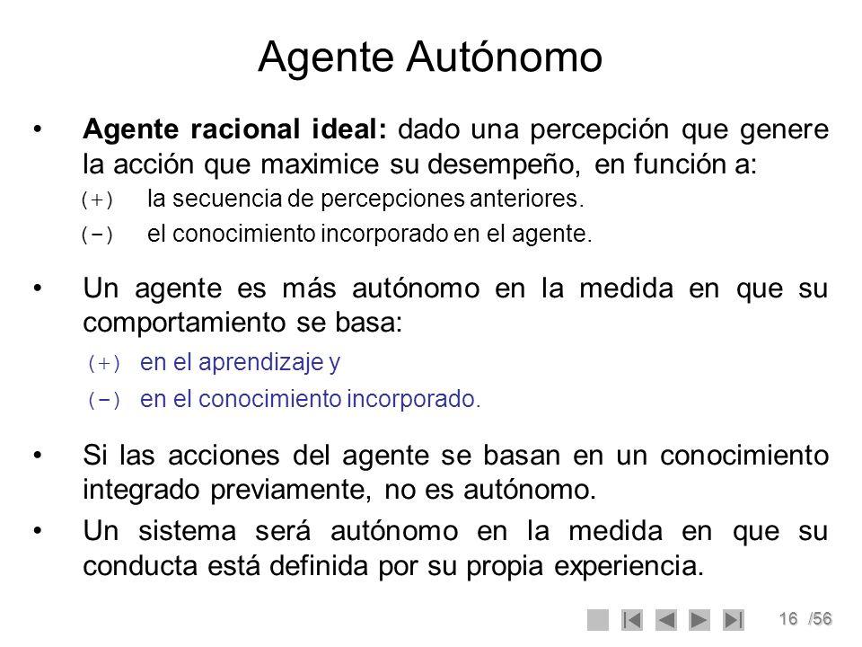 16/56 Agente Autónomo Agente racional ideal: dado una percepción que genere la acción que maximice su desempeño, en función a: (+) la secuencia de per