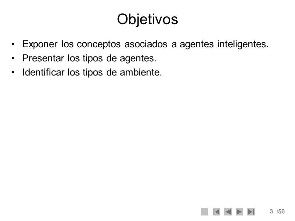 3/56 Objetivos Exponer los conceptos asociados a agentes inteligentes. Presentar los tipos de agentes. Identificar los tipos de ambiente.