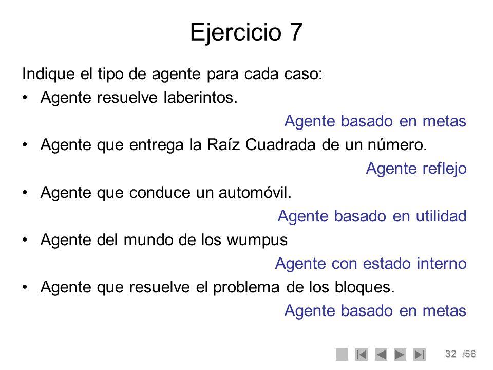 32/56 Ejercicio 7 Indique el tipo de agente para cada caso: Agente resuelve laberintos. Agente basado en metas Agente que entrega la Raíz Cuadrada de