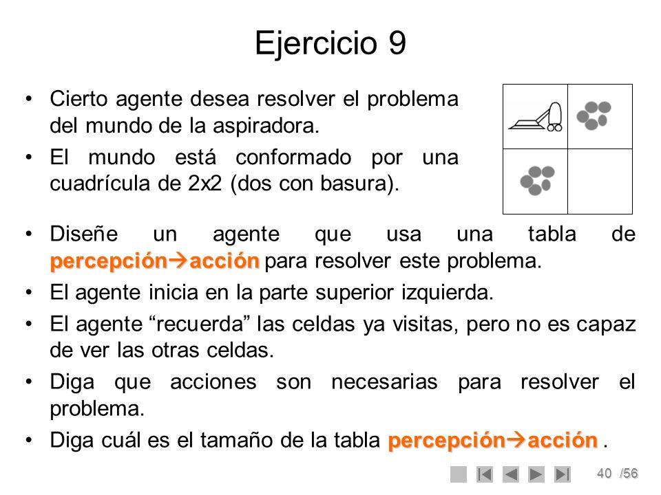 40/56 Ejercicio 9 Cierto agente desea resolver el problema del mundo de la aspiradora. El mundo está conformado por una cuadrícula de 2x2 (dos con bas
