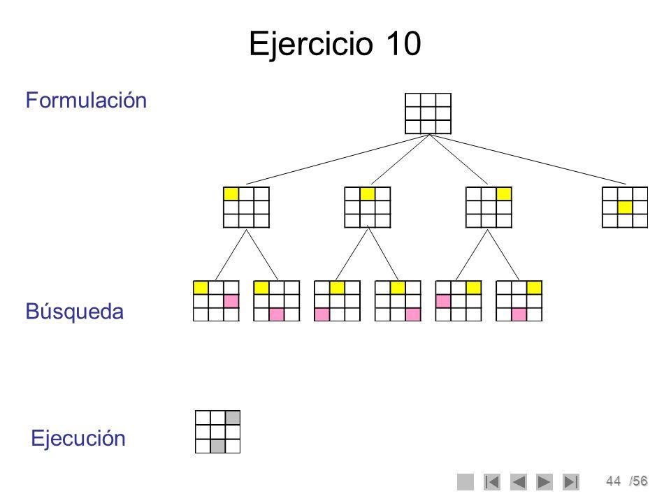 45/56 Ejercicio 11 Diseñar un agente para resolver el problema del rompecabezas móvil o problema de las ocho fichas o puzzle.