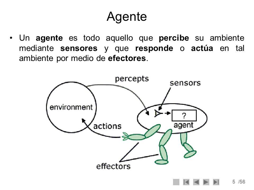5/56 Agente Un agente es todo aquello que percibe su ambiente mediante sensores y que responde o actúa en tal ambiente por medio de efectores.
