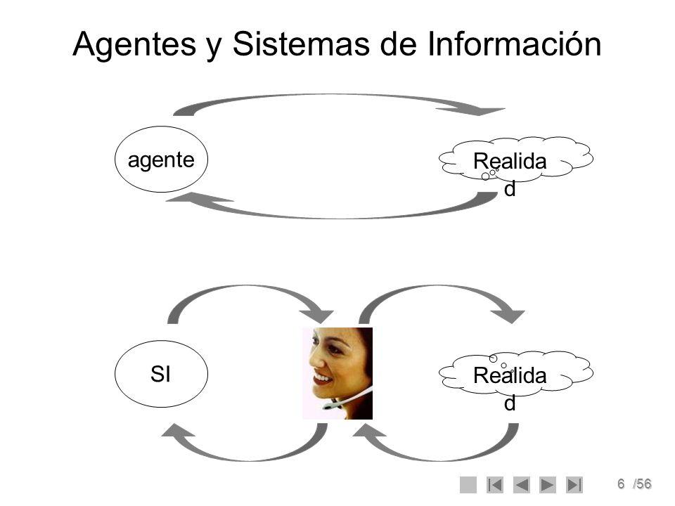 7/56 Ejercicio 1 Diga si los siguientes sistemas son agentes: 1.Un reloj.