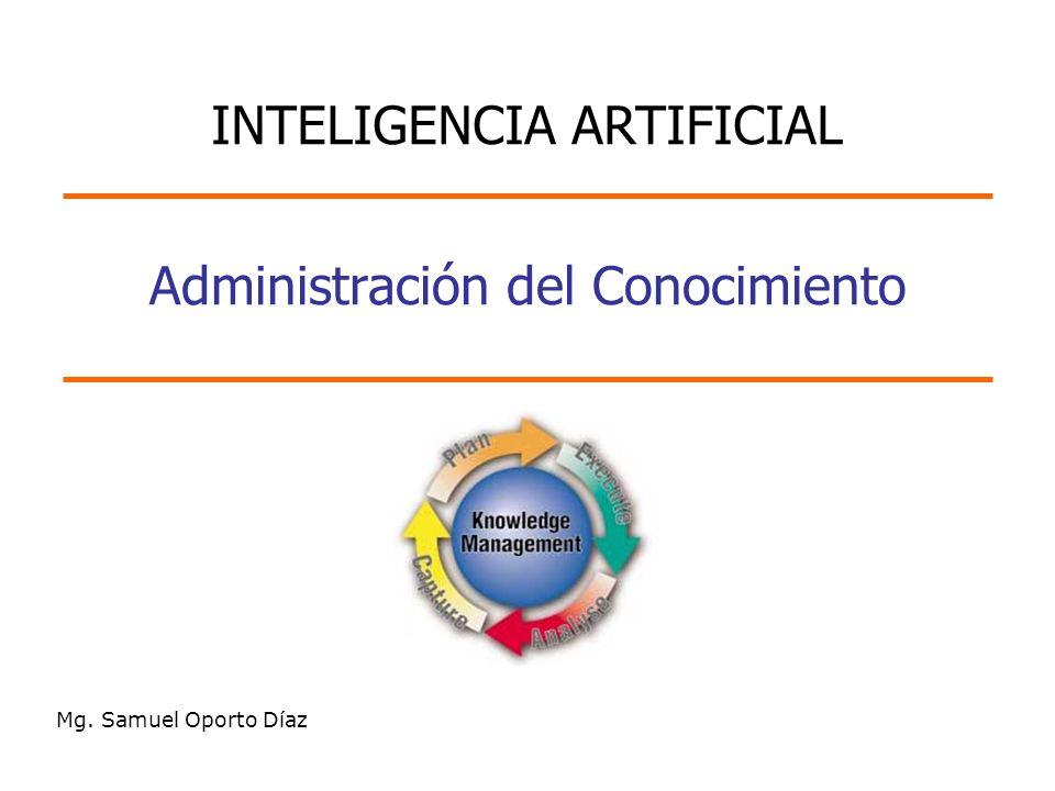 Administración del Conocimiento Mg. Samuel Oporto Díaz INTELIGENCIA ARTIFICIAL