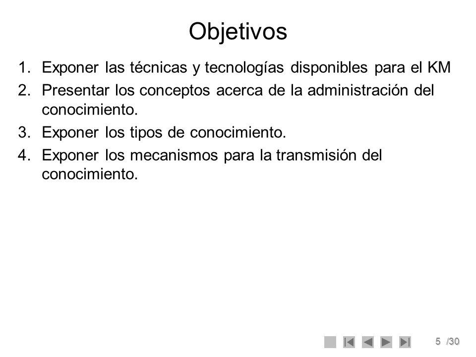 6/30 TECNICAS Y TECNOLOGIAS PARA EL KM