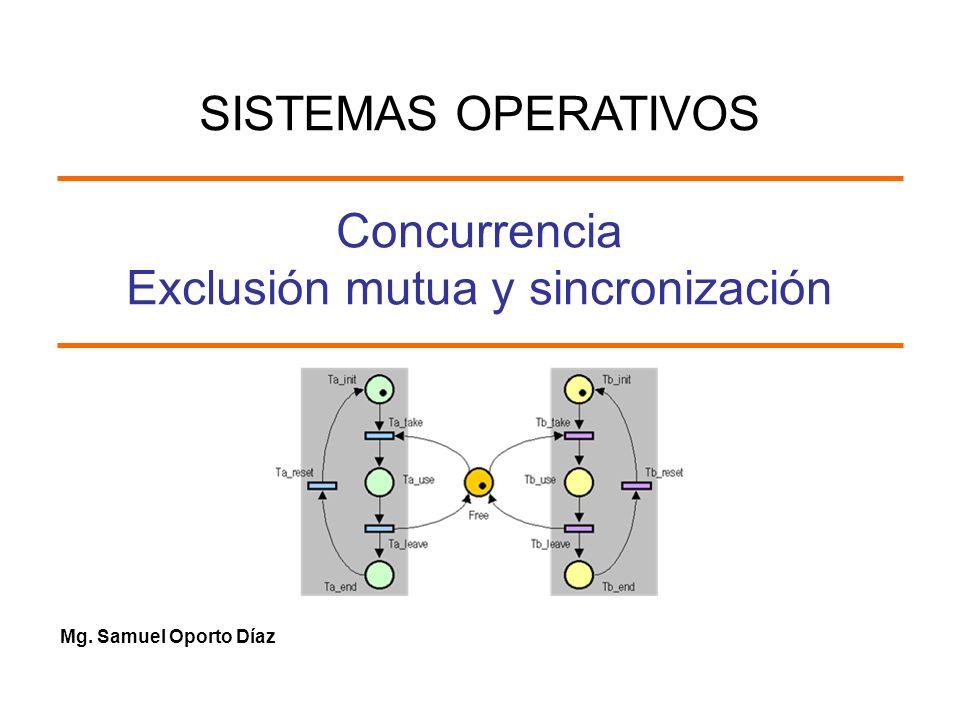 Mg. Samuel Oporto Díaz Concurrencia Exclusión mutua y sincronización SISTEMAS OPERATIVOS