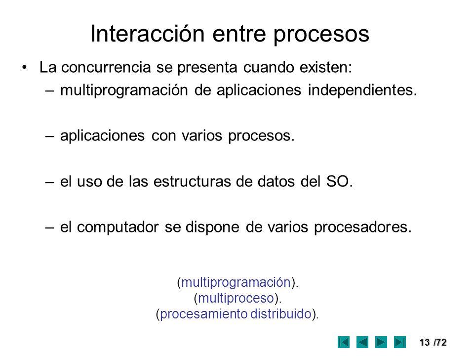 13/72 Interacción entre procesos La concurrencia se presenta cuando existen: –multiprogramación de aplicaciones independientes. –aplicaciones con vari