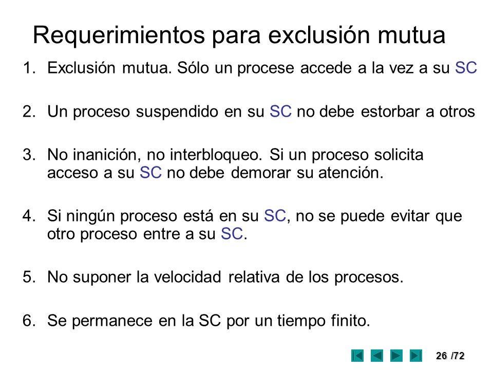 26/72 Requerimientos para exclusión mutua 1.Exclusión mutua. Sólo un procese accede a la vez a su SC 2.Un proceso suspendido en su SC no debe estorbar