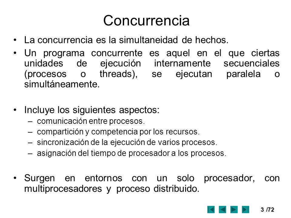 3/72 Concurrencia La concurrencia es la simultaneidad de hechos. Un programa concurrente es aquel en el que ciertas unidades de ejecución internamente