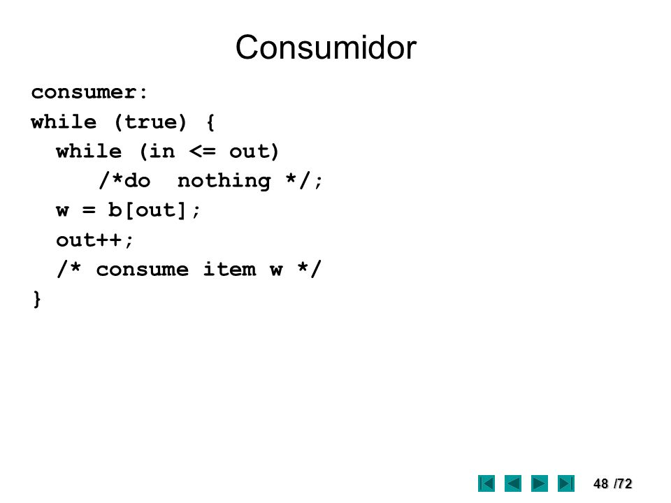48/72 Consumidor consumer: while (true) { while (in <= out) /*do nothing */; w = b[out]; out++; /* consume item w */ }