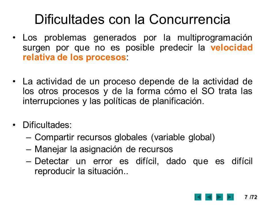 7/72 Dificultades con la Concurrencia Los problemas generados por la multiprogramación surgen por que no es posible predecir la velocidad relativa de