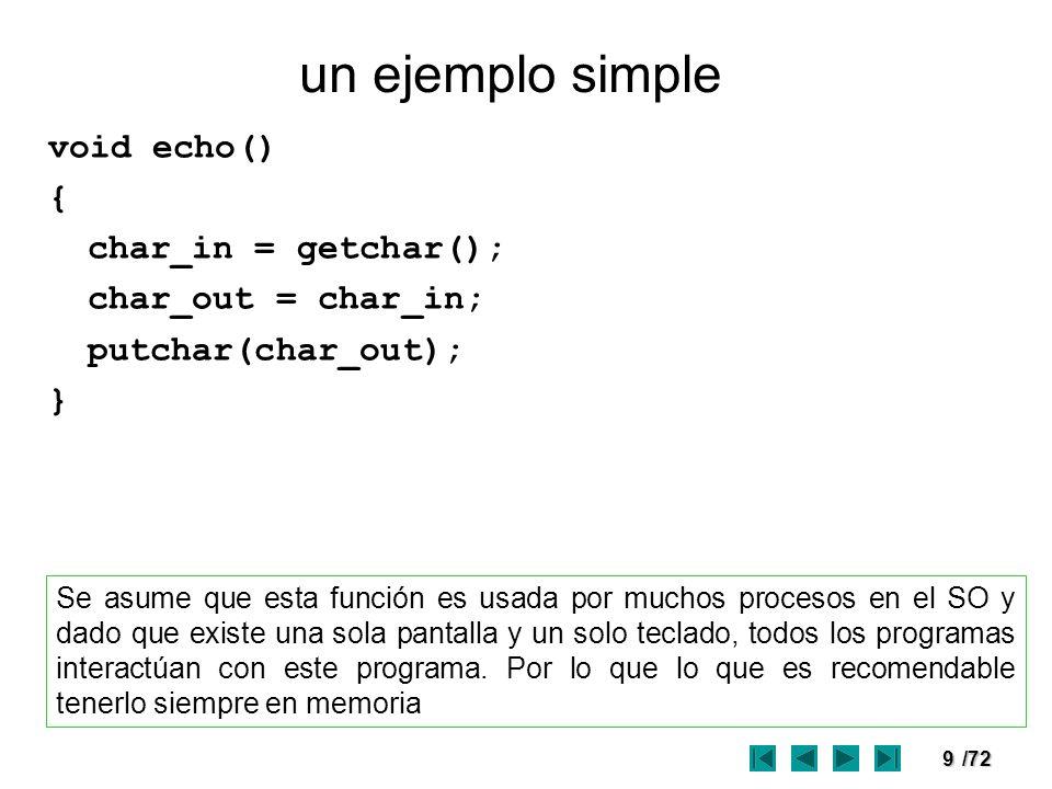 9/72 un ejemplo simple void echo() { char_in = getchar(); char_out = char_in; putchar(char_out); } Se asume que esta función es usada por muchos proce