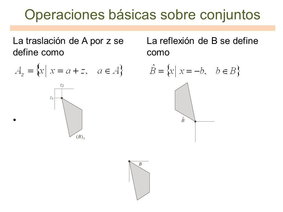 La traslación de A por z se define como La reflexión de B se define como Operaciones básicas sobre conjuntos