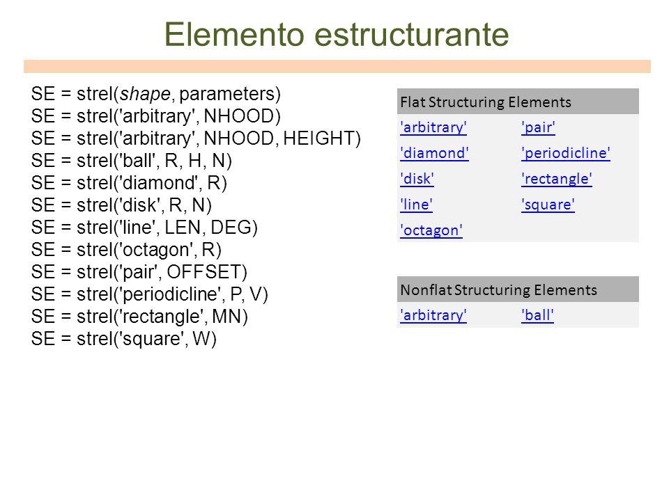 SE = strel(shape, parameters) SE = strel('arbitrary', NHOOD) SE = strel('arbitrary', NHOOD, HEIGHT) SE = strel('ball', R, H, N) SE = strel('diamond',